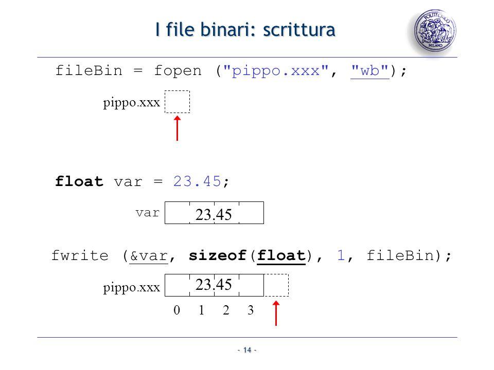 - 14 - I file binari: scrittura fwrite (&var, sizeof(float), 1, fileBin); fileBin = fopen (