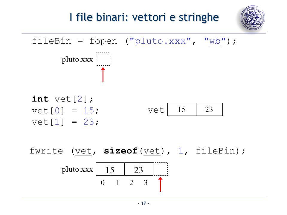 - 17 - I file binari: vettori e stringhe I file binari: vettori e stringhe fwrite (vet, sizeof(vet), 1, fileBin); fileBin = fopen (