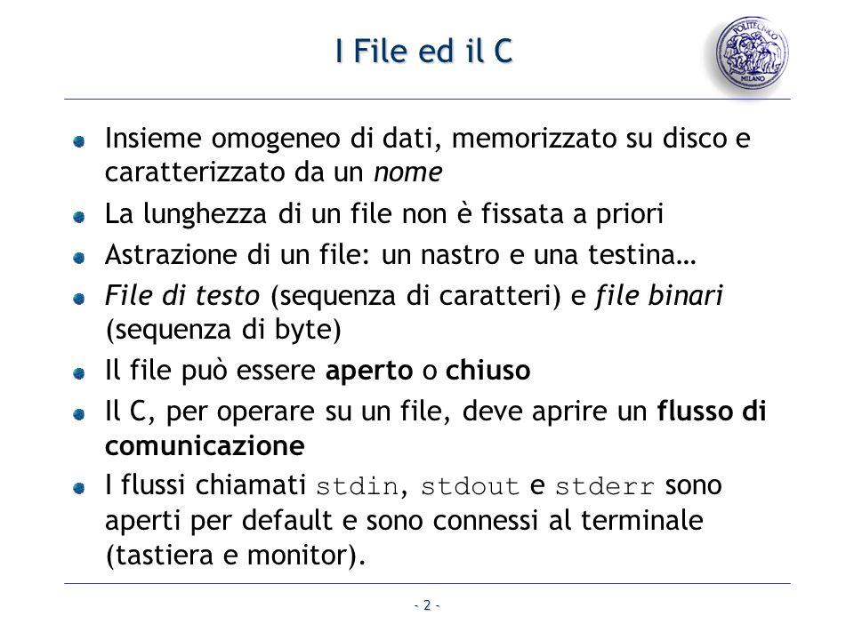 - 2 - I File ed il C Insieme omogeneo di dati, memorizzato su disco e caratterizzato da un nome La lunghezza di un file non è fissata a priori Astrazi