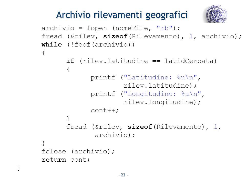 - 23 - archivio = fopen (nomeFile,