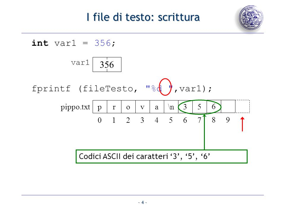 - 5 - I file di testo: lettura I file di testo: lettura fscanf (fileTesto, %s , var); fileTesto = fopen ( pippo.txt , r ); prova\n35 pippo.txt 01234567 6 89 prova\n35 pippo.txt 01234567 6 89 prova\0 var