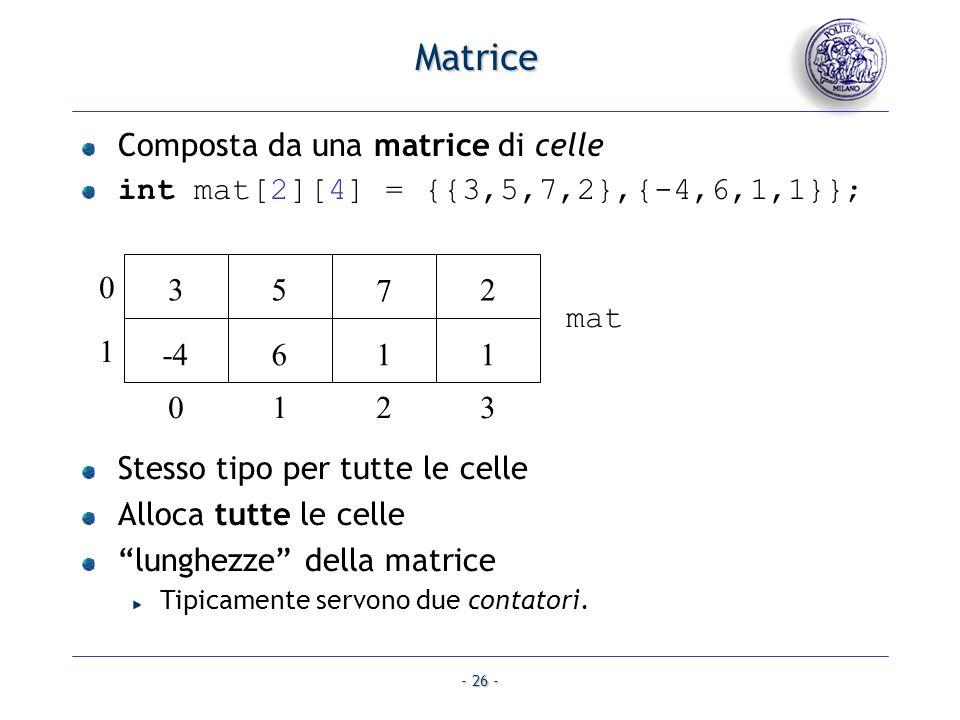- 26 - Matrice Composta da una matrice di celle int mat[2][4] = {{3,5,7,2},{-4,6,1,1}}; Stesso tipo per tutte le celle Alloca tutte le celle lunghezze della matrice Tipicamente servono due contatori.