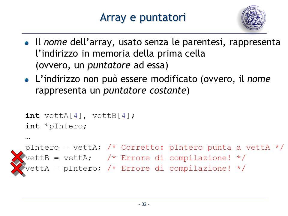 - 32 - Array e puntatori Il nome dellarray, usato senza le parentesi, rappresenta lindirizzo in memoria della prima cella (ovvero, un puntatore ad essa) Lindirizzo non può essere modificato (ovvero, il nome rappresenta un puntatore costante) int vettA[4], vettB[4]; int *pIntero; … pIntero = vettA; /* Corretto: pIntero punta a vettA */ vettB = vettA;/* Errore di compilazione.