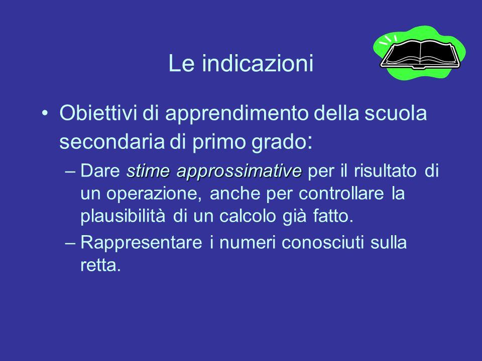 Le indicazioni Obiettivi di apprendimento della scuola secondaria di primo grado : stime approssimative –Dare stime approssimative per il risultato di