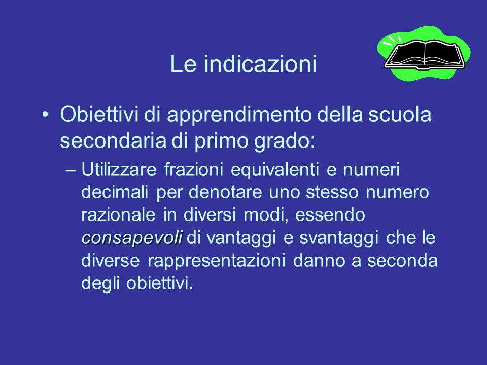 Le indicazioni Obiettivi di apprendimento della scuola secondaria di primo grado: consapevoli –Utilizzare frazioni equivalenti e numeri decimali per d