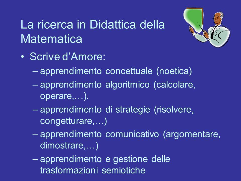 La ricerca in Didattica della Matematica Scrive dAmore: –apprendimento concettuale (noetica) –apprendimento algoritmico (calcolare, operare,…). –appre