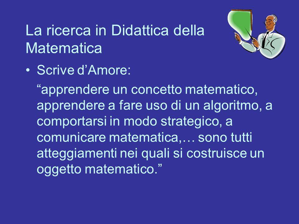 La ricerca in Didattica della Matematica Scrive dAmore: apprendere un concetto matematico, apprendere a fare uso di un algoritmo, a comportarsi in mod