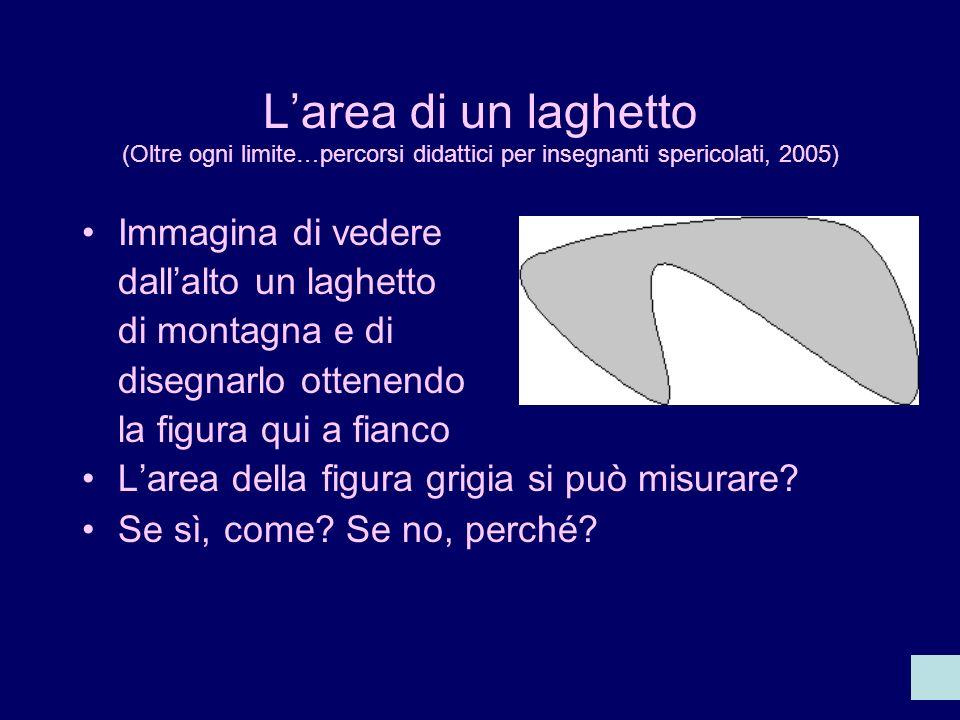 Larea di un laghetto (Oltre ogni limite…percorsi didattici per insegnanti spericolati, 2005) Immagina di vedere dallalto un laghetto di montagna e di