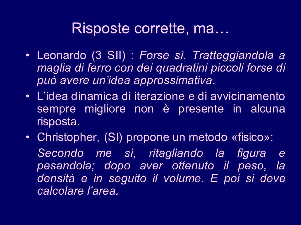 Risposte corrette, ma… Leonardo (3 SII) : Forse sì. Tratteggiandola a maglia di ferro con dei quadratini piccoli forse di può avere unidea approssimat