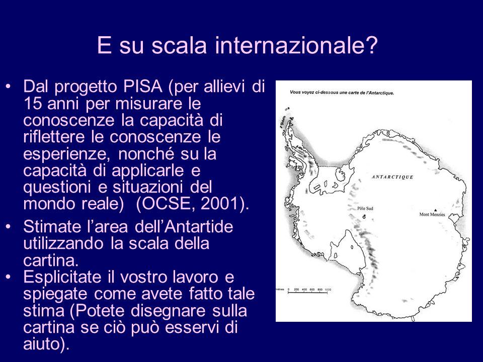 E su scala internazionale? Dal progetto PISA (per allievi di 15 anni per misurare le conoscenze la capacità di riflettere le conoscenze le esperienze,