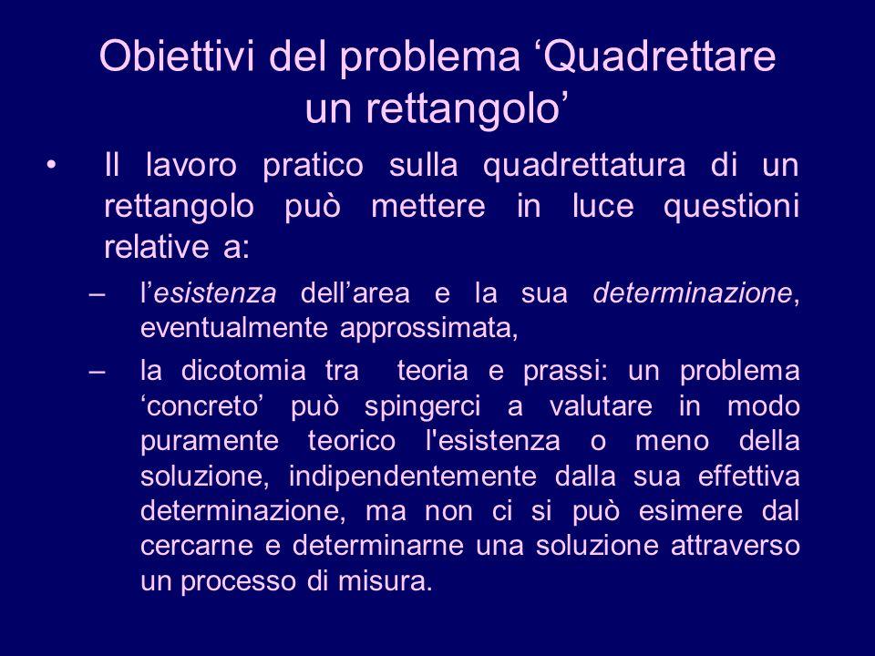 Obiettivi del problema Quadrettare un rettangolo Il lavoro pratico sulla quadrettatura di un rettangolo può mettere in luce questioni relative a: –les