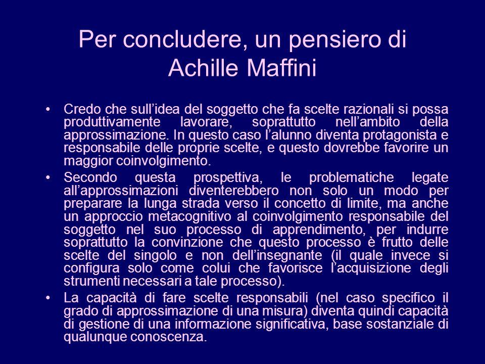 Per concludere, un pensiero di Achille Maffini Credo che sullidea del soggetto che fa scelte razionali si possa produttivamente lavorare, soprattutto