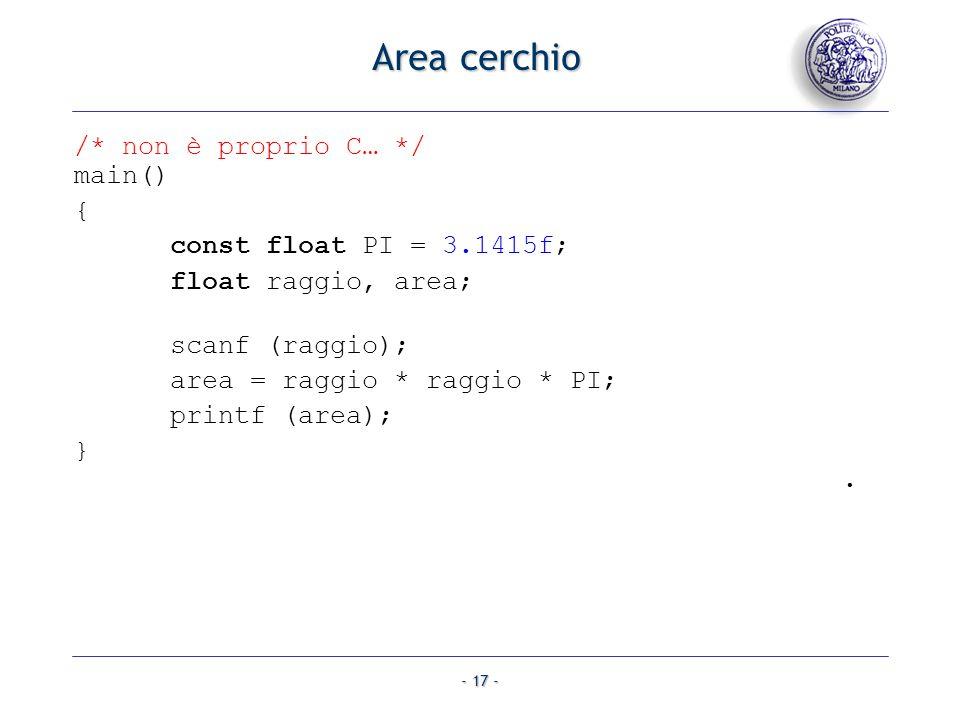 - 17 - Area cerchio /* non è proprio C… */ main() { const float PI = 3.1415f; float raggio, area; scanf (raggio); area = raggio * raggio * PI; printf
