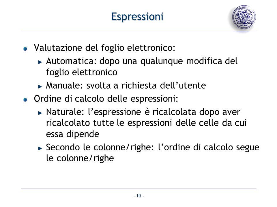 - 10 - Valutazione del foglio elettronico: Automatica: dopo una qualunque modifica del foglio elettronico Manuale: svolta a richiesta dellutente Ordin
