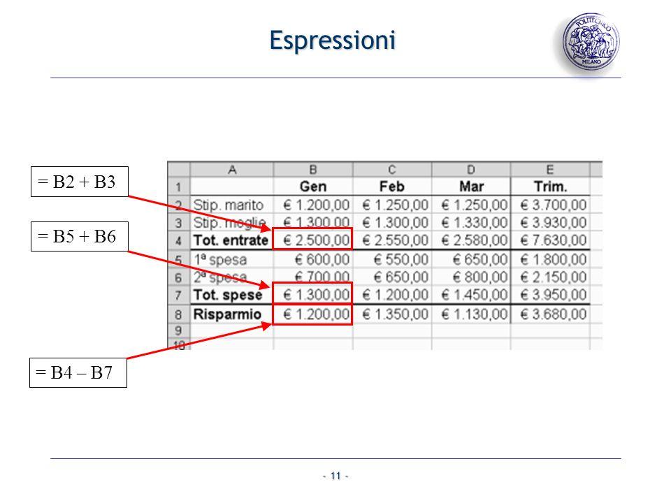 - 11 - = B2 + B3 = B5 + B6 = B4 – B7 Espressioni
