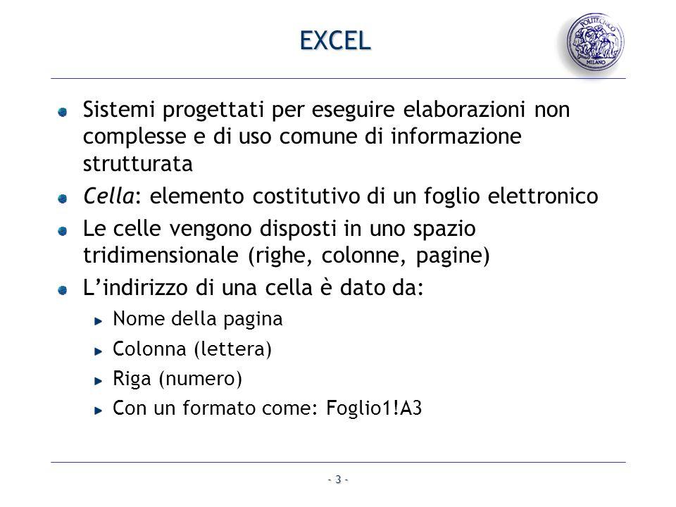 - 3 - EXCEL Sistemi progettati per eseguire elaborazioni non complesse e di uso comune di informazione strutturata Cella: elemento costitutivo di un f