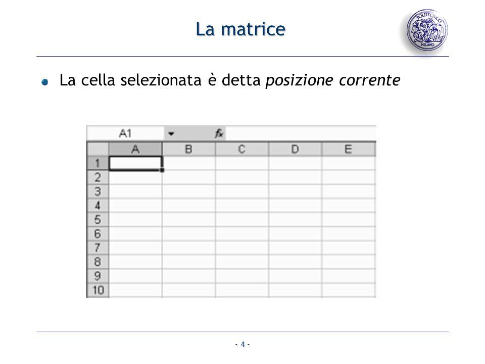 - 4 - La cella selezionata è detta posizione corrente La matrice