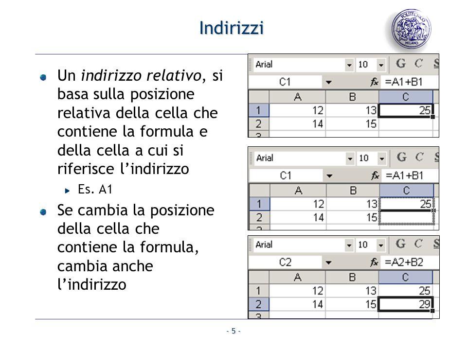 - 5 - Indirizzi Un indirizzo relativo, si basa sulla posizione relativa della cella che contiene la formula e della cella a cui si riferisce lindirizz