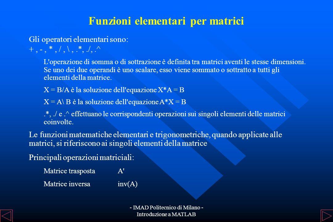 - IMAD Politecnico di Milano - Introduzione a MATLAB Funzioni elementari per scalari Altre costanti predefinite: pipigreco Infinfinito NaNNot a Number