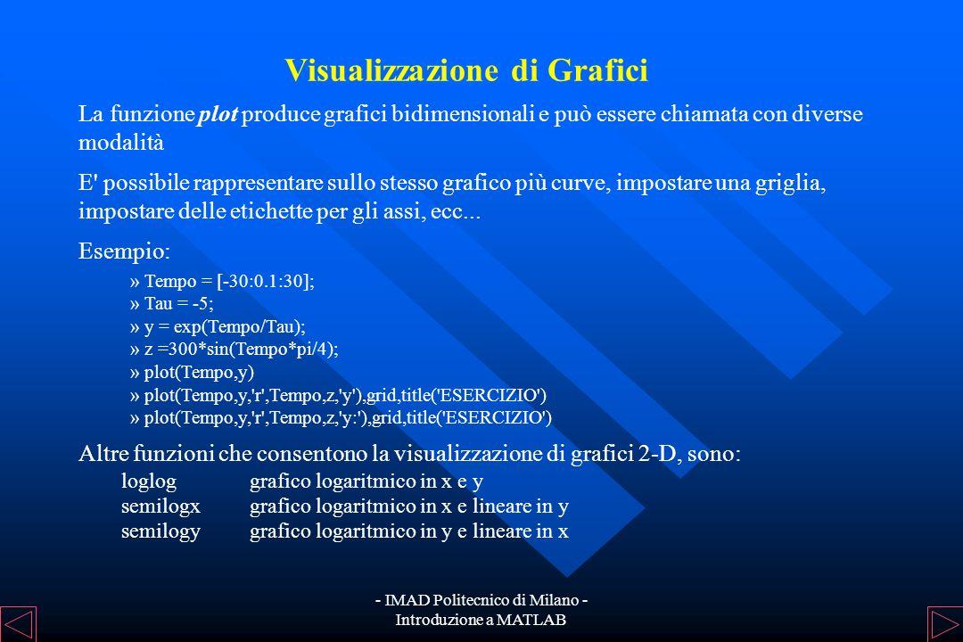 - IMAD Politecnico di Milano - Introduzione a MATLAB Polinomi Un polinomio è rappresentato da un vettore riga che ne contiene i coefficienti in ordine