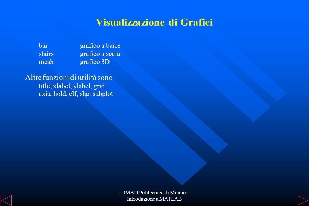 - IMAD Politecnico di Milano - Introduzione a MATLAB Visualizzazione di Grafici La funzione plot produce grafici bidimensionali e può essere chiamata