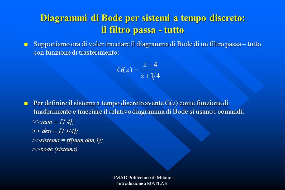 - IMAD Politecnico di Milano - Introduzione a MATLAB Diagrammi di Bode per sistemi a tempo discreto Con il comando >> bode (sistema) Con il comando >>