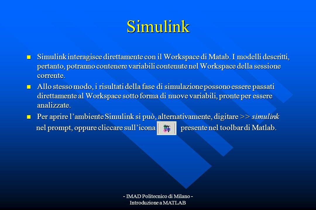- IMAD Politecnico di Milano - Introduzione a MATLAB Simulink Simulink è un ambiente grafico che consente di descrivere e simulare sistemi complessi.