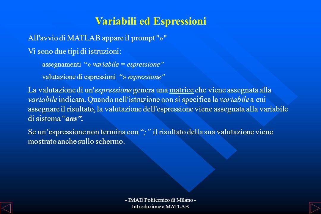 - IMAD Politecnico di Milano - Introduzione a MATLAB Introduzione MATLAB (MATrix LABoratory) è un linguaggio di programmazione per applicazioni scient
