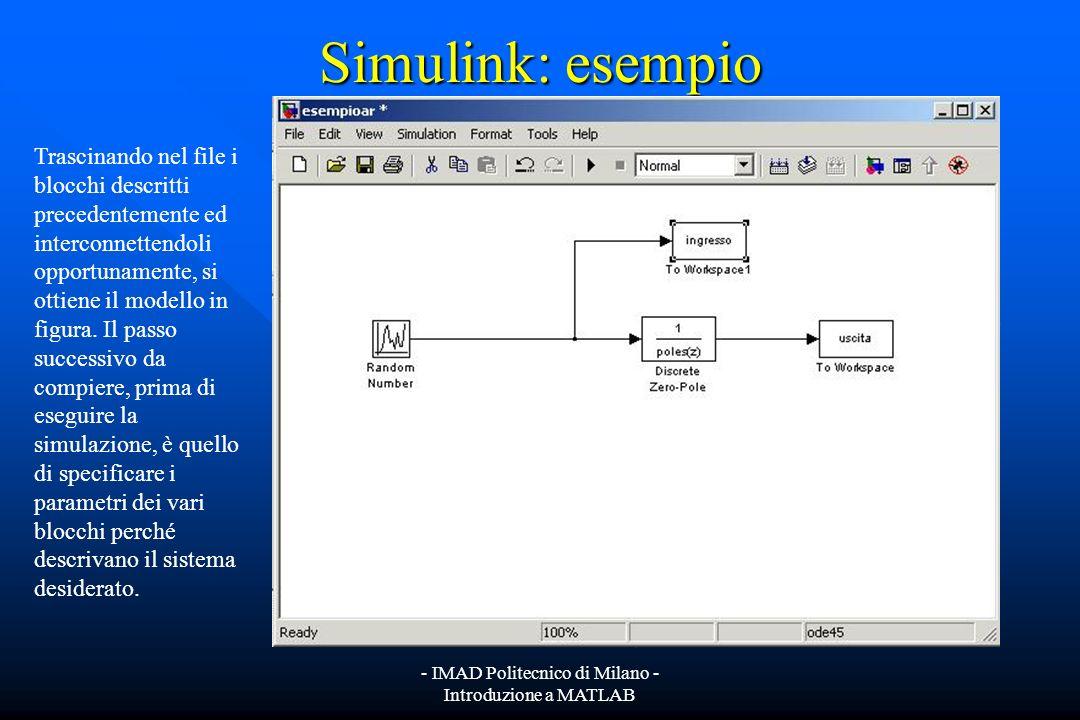 - IMAD Politecnico di Milano - Introduzione a MATLAB Simulink: esempio Supponiamo di voler simulare con Simulink un sistema AR(3), asintoticamente sta