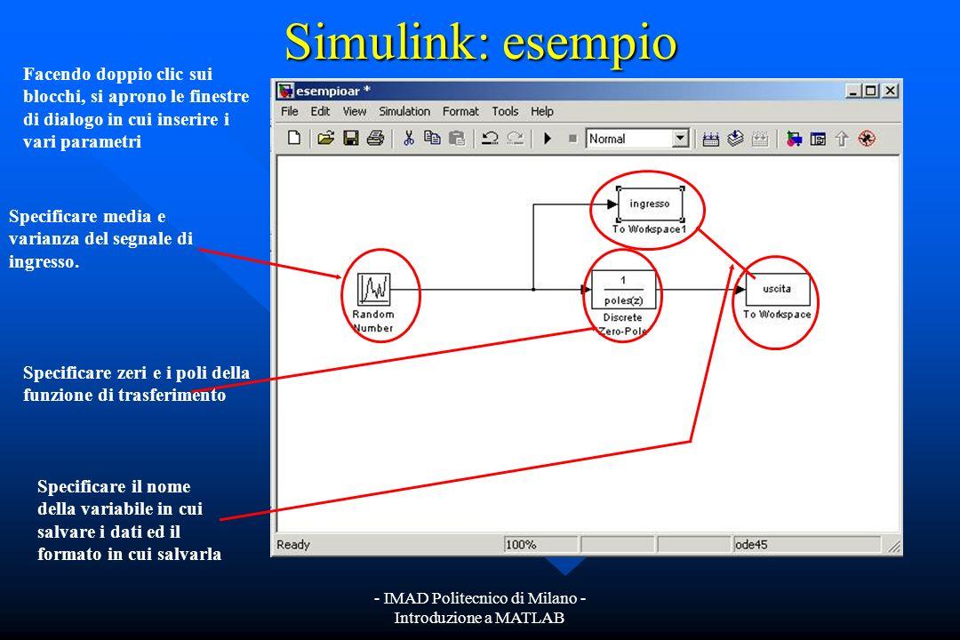 - IMAD Politecnico di Milano - Introduzione a MATLAB Simulink: esempio Trascinando nel file i blocchi descritti precedentemente ed interconnettendoli