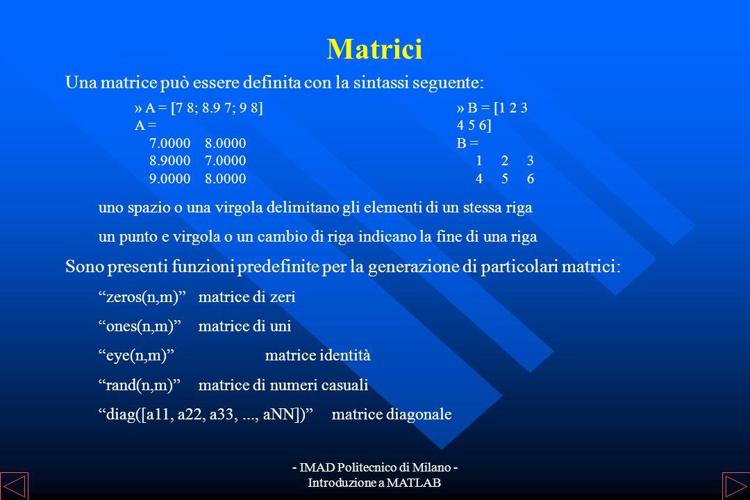 - IMAD Politecnico di Milano - Introduzione a MATLAB Variabili ed Espressioni Esempio: In MATLAB le variabili non devono essere dichiarate. La dichiar