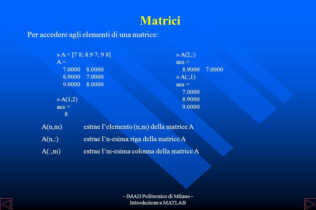 - IMAD Politecnico di Milano - Introduzione a MATLAB Matrici Una matrice può essere definita con la sintassi seguente: uno spazio o una virgola delimi