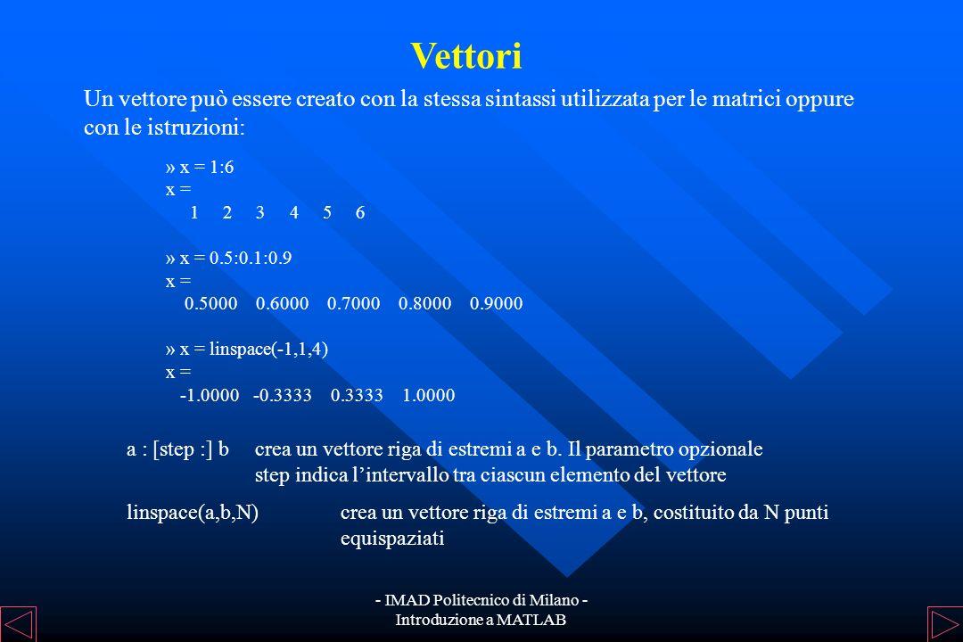 - IMAD Politecnico di Milano - Introduzione a MATLAB Per accedere agli elementi di una matrice: A(n,m)estrae lelemento (n,m) della matrice A A(n,:)est