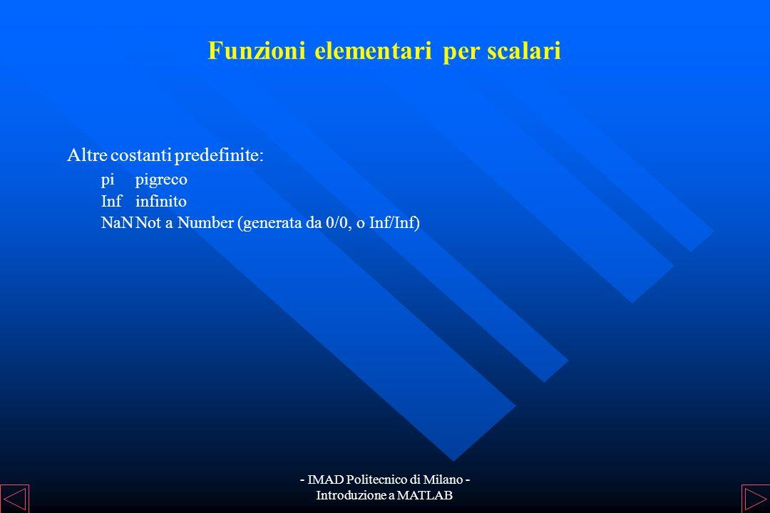 - IMAD Politecnico di Milano - Introduzione a MATLAB Funzioni elementari per scalari Gli operatori aritmetici presenti in MATLAB sono: + (somma), - (d