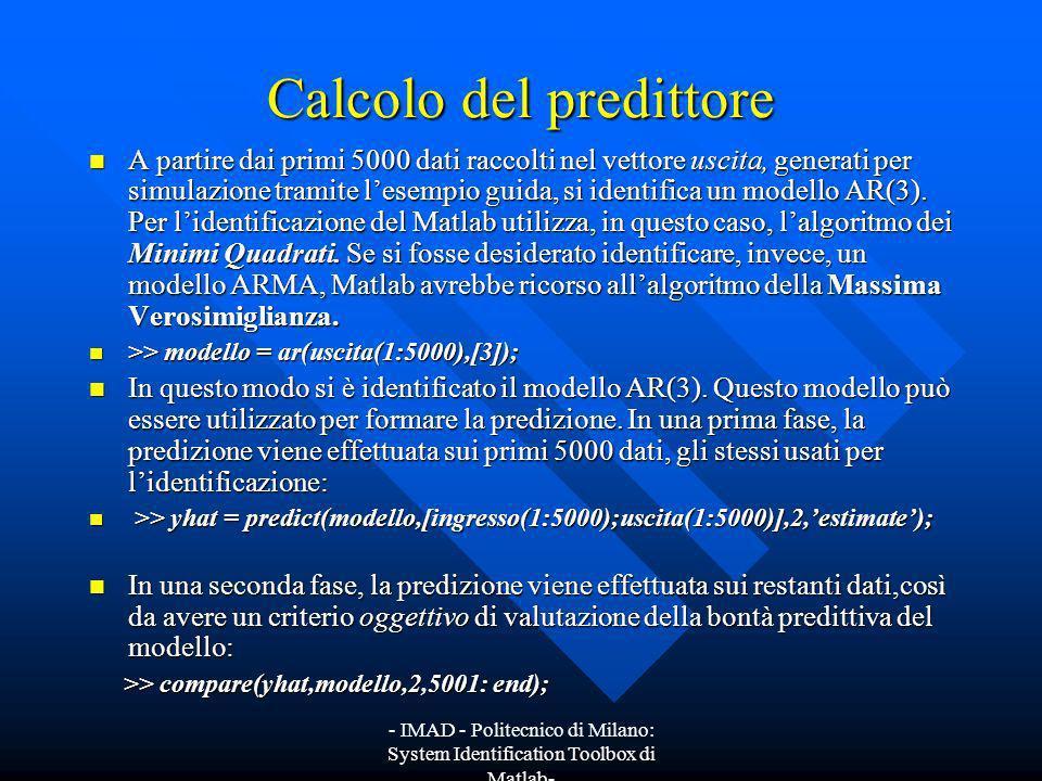 - IMAD - Politecnico di Milano: System Identification Toolbox di Matlab- Calcolo del predittore A partire dai primi 5000 dati raccolti nel vettore usc