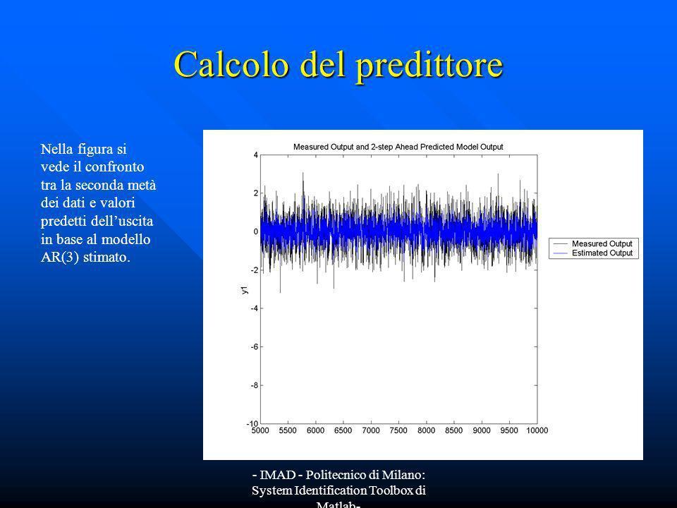- IMAD - Politecnico di Milano: System Identification Toolbox di Matlab- Calcolo del predittore Nella figura si vede il confronto tra la seconda metà