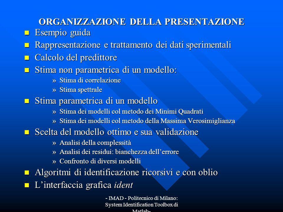 - IMAD - Politecnico di Milano: System Identification Toolbox di Matlab- Scelta del modello ottimo e sua validazione La figura mostra lanalisi dei residui prima descritta nel caso del modello MA(3).
