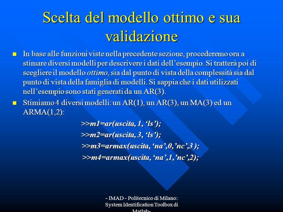 - IMAD - Politecnico di Milano: System Identification Toolbox di Matlab- Scelta del modello ottimo e sua validazione In base alle funzioni viste nella