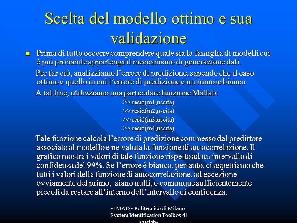 - IMAD - Politecnico di Milano: System Identification Toolbox di Matlab- Scelta del modello ottimo e sua validazione Prima di tutto occorre comprender