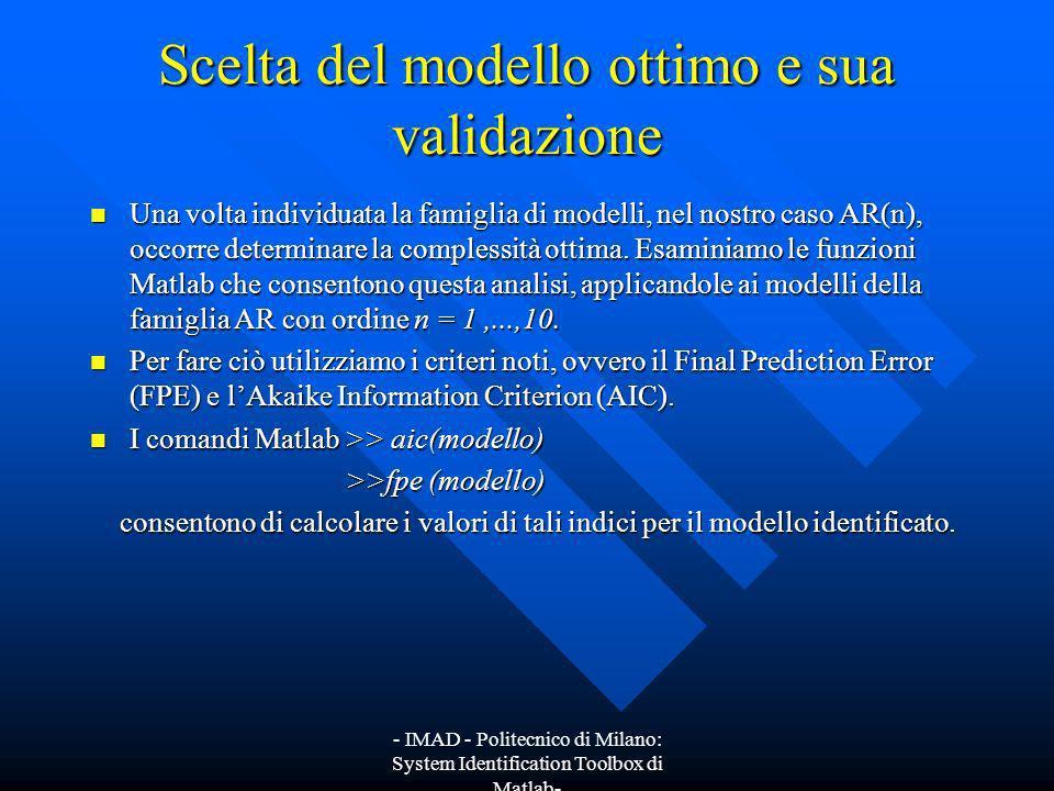 - IMAD - Politecnico di Milano: System Identification Toolbox di Matlab- Scelta del modello ottimo e sua validazione Una volta individuata la famiglia