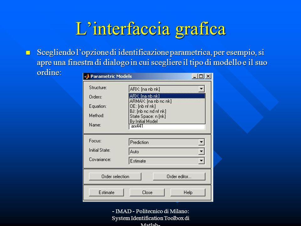 - IMAD - Politecnico di Milano: System Identification Toolbox di Matlab- Linterfaccia grafica Scegliendo lopzione di identificazione parametrica, per