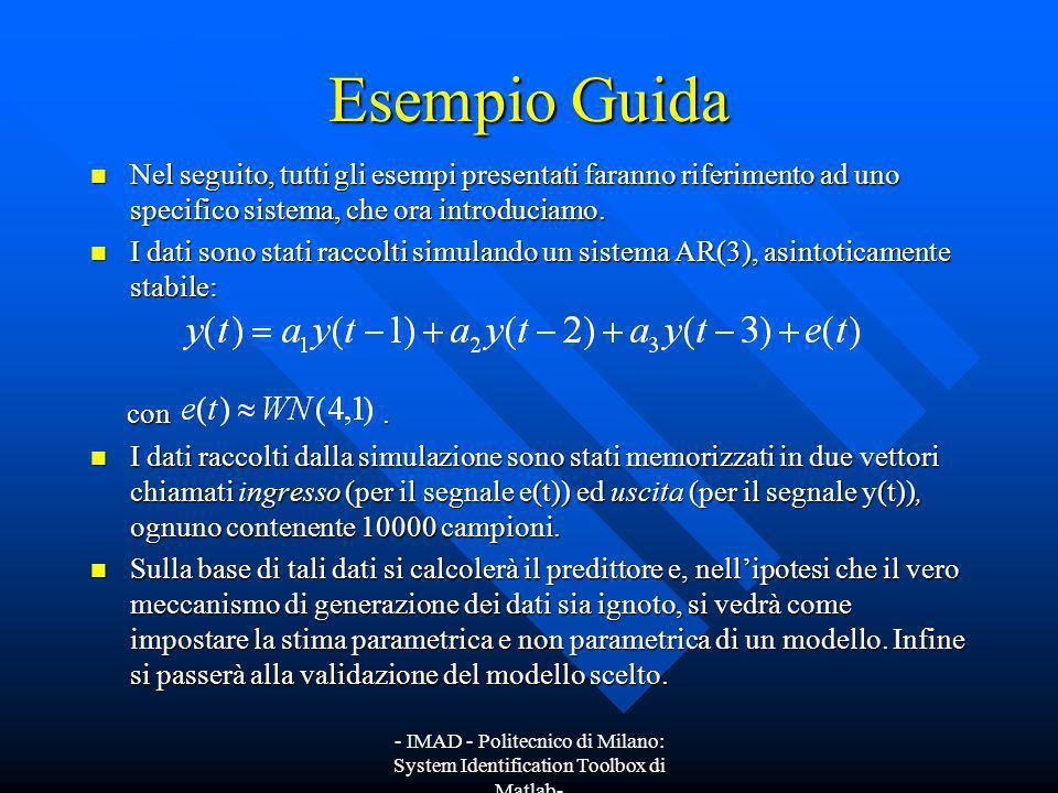 - IMAD - Politecnico di Milano: System Identification Toolbox di Matlab- Scelta del modello ottimo e sua validazione La figura mostra lanalisi dei residui prima descritta nel caso del modello AR(3).