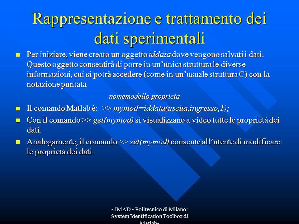 - IMAD - Politecnico di Milano: System Identification Toolbox di Matlab- Scelta del modello ottimo e sua validazione Una volta individuata la famiglia di modelli, nel nostro caso AR(n), occorre determinare la complessità ottima.