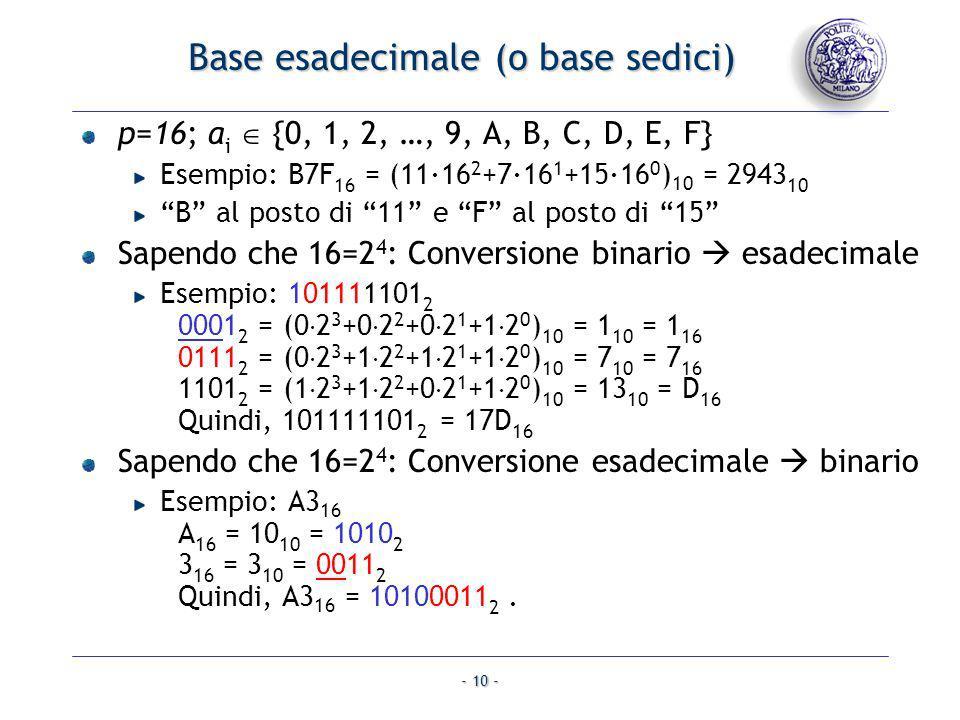 - 10 - Base esadecimale (o base sedici) p=16; a i {0, 1, 2, …, 9, A, B, C, D, E, F} Esempio: B7F 16 = (11·16 2 +7·16 1 +15·16 0 ) 10 = 2943 10 B al po
