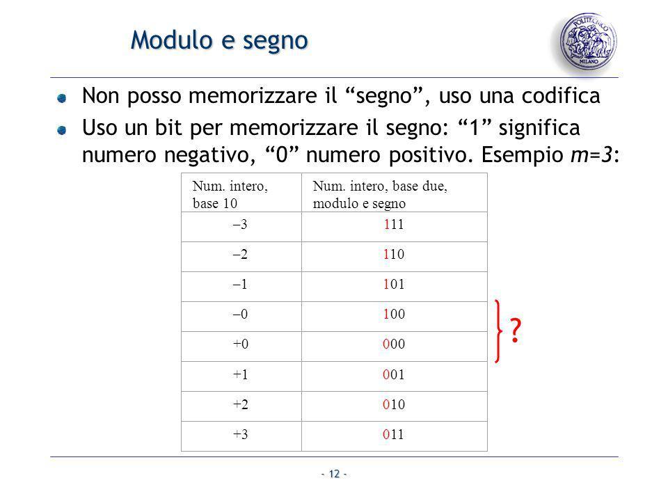 - 12 - Modulo e segno Non posso memorizzare il segno, uso una codifica Uso un bit per memorizzare il segno: 1 significa numero negativo, 0 numero posi