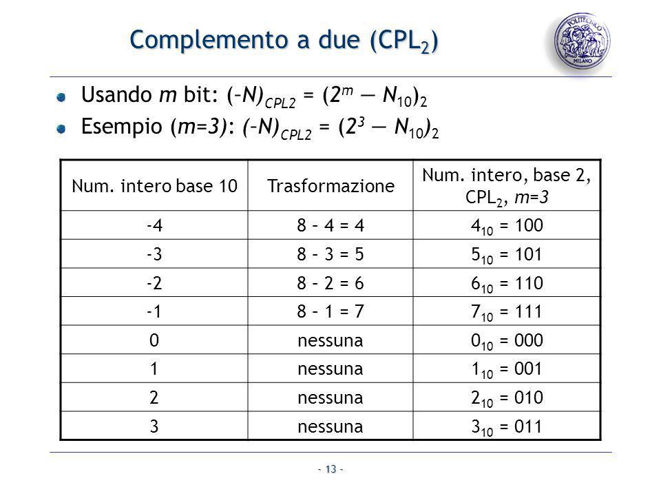 - 13 - Usando m bit: (–N) CPL2 = (2 m N 10 ) 2 Esempio (m=3): (–N) CPL2 = (2 3 N 10 ) 2 Complemento a due (CPL 2 ) Num. intero base 10Trasformazione N