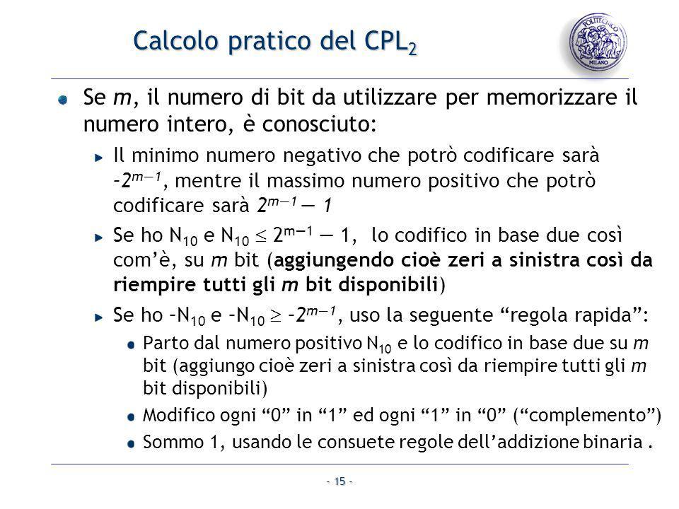 - 15 - Calcolo pratico del CPL 2 Se m, il numero di bit da utilizzare per memorizzare il numero intero, è conosciuto: Il minimo numero negativo che po