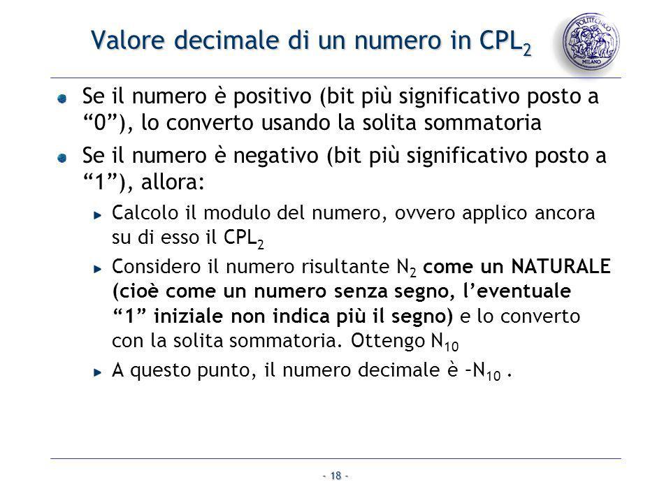 - 18 - Valore decimale di un numero in CPL 2 Se il numero è positivo (bit più significativo posto a 0), lo converto usando la solita sommatoria Se il