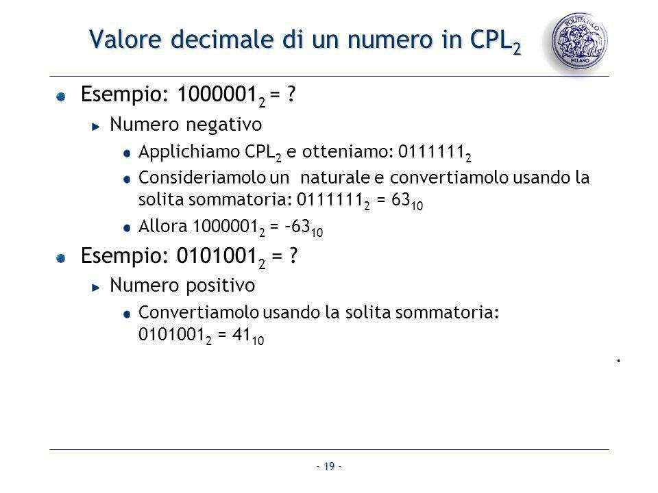 - 19 - Valore decimale di un numero in CPL 2 Esempio: 1000001 2 = ? Numero negativo Applichiamo CPL 2 e otteniamo: 0111111 2 Consideriamolo un natural
