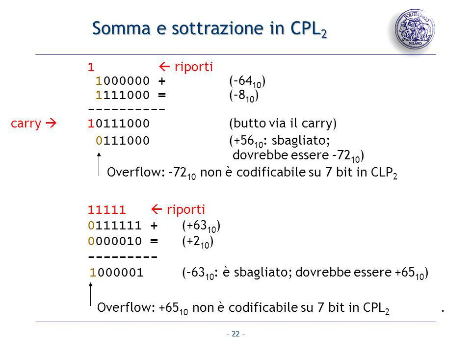- 22 - Somma e sottrazione in CPL 2 11111 riporti 0111111 + (+63 10 ) 0000010 = (+2 10 ) --------- 1000001 (–63 10 : è sbagliato; dovrebbe essere +65